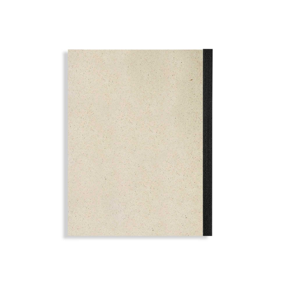 Notizblock Graspapier – Blanko mit schwarzem Fälzelstreifen
