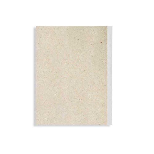 Notizblock Graspapier – Blanko mit weißem Fälzelstreifen