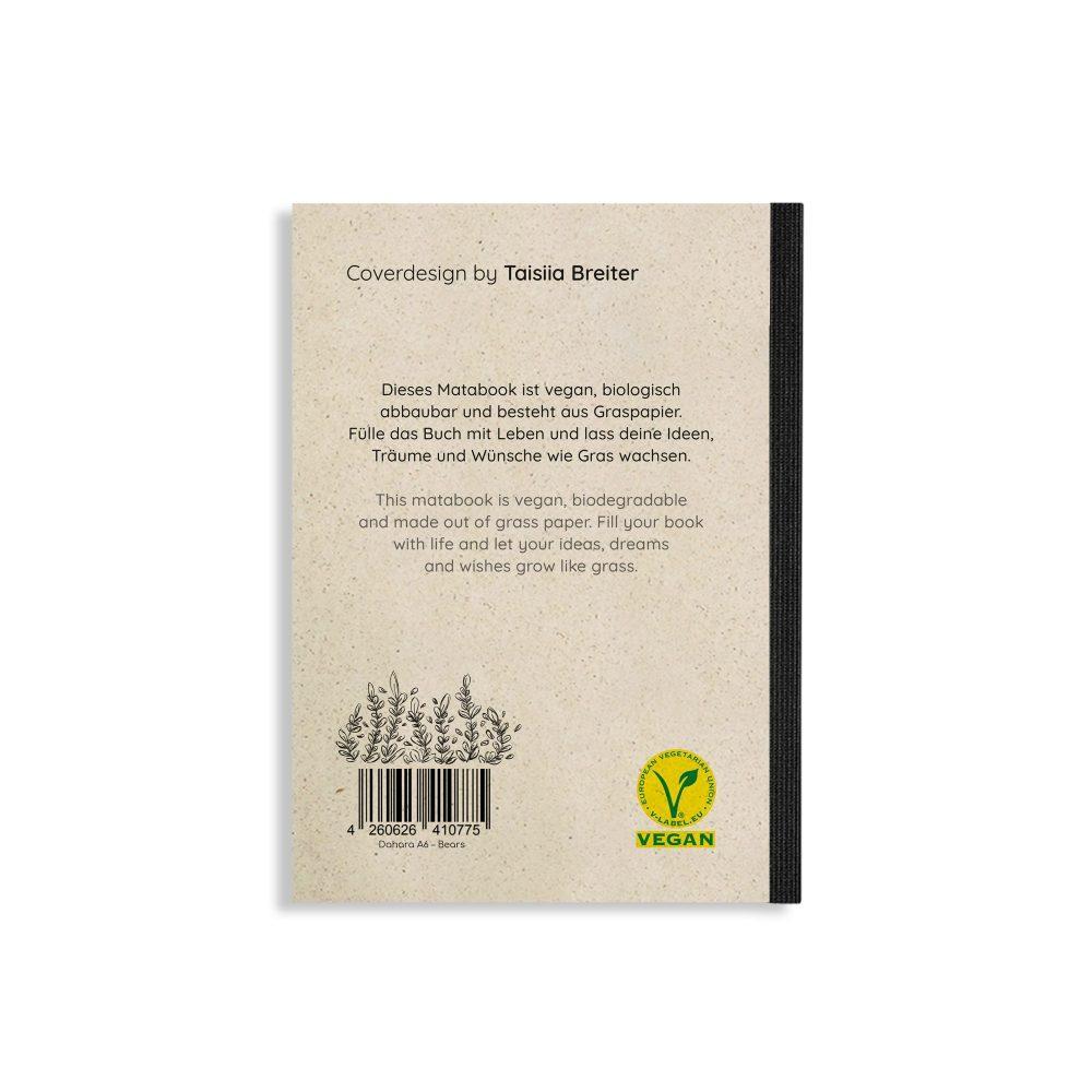 """Notizbuch Steifbroschur Dahara """"Bears"""" aus Graspapier von Matabooks"""