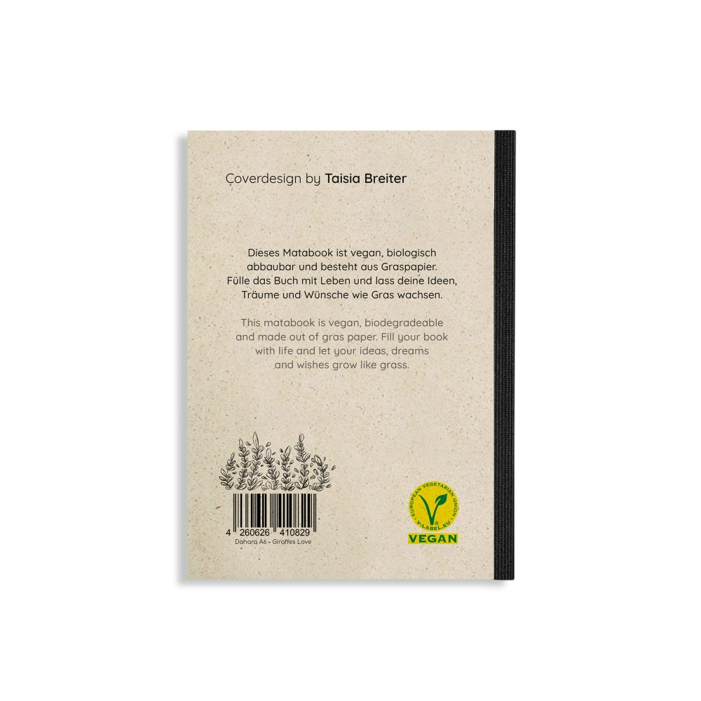 "Steifbroschur Dahara ""Giraffe's Love"" aus Graspapier von Matabooks"