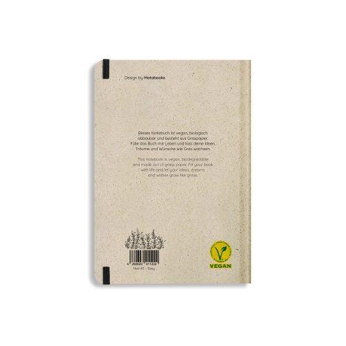Nachhaltiges Notizbuch A5 aus Graspapier Nari Plant Friends liniert von Matabooks