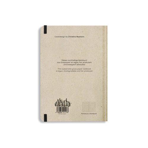 Nachhaltiges Notizbuch A5 aus Graspapier Nari Leaves liniert von Matabooks