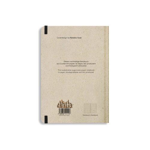 Nachhaltiges Notizbuch A5 aus Graspapier Nari Plant Friends punktiert von Matabooks