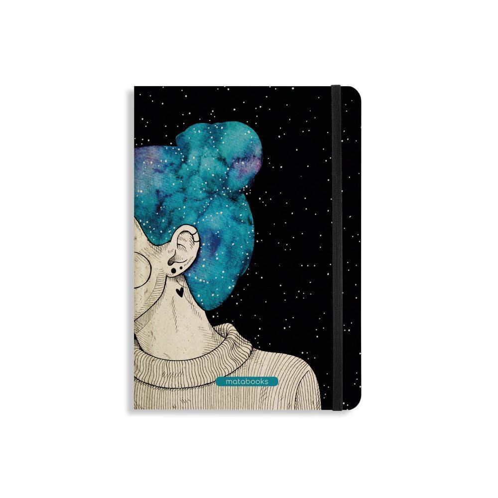 Nachhaltiges Notizbuch A5 aus Graspapier Nari Blue Starry Sky von Matabooks