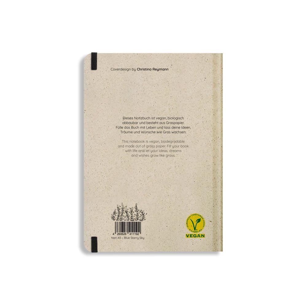 Nachhaltiges Notizbuch A5 aus Graspapier Nari Blue Starry Sky liniert von Matabooks