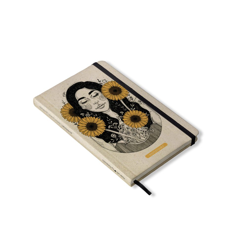 Nachhaltiges Notizbuch A5 aus Graspapier Nari Sunflower von Matabooks