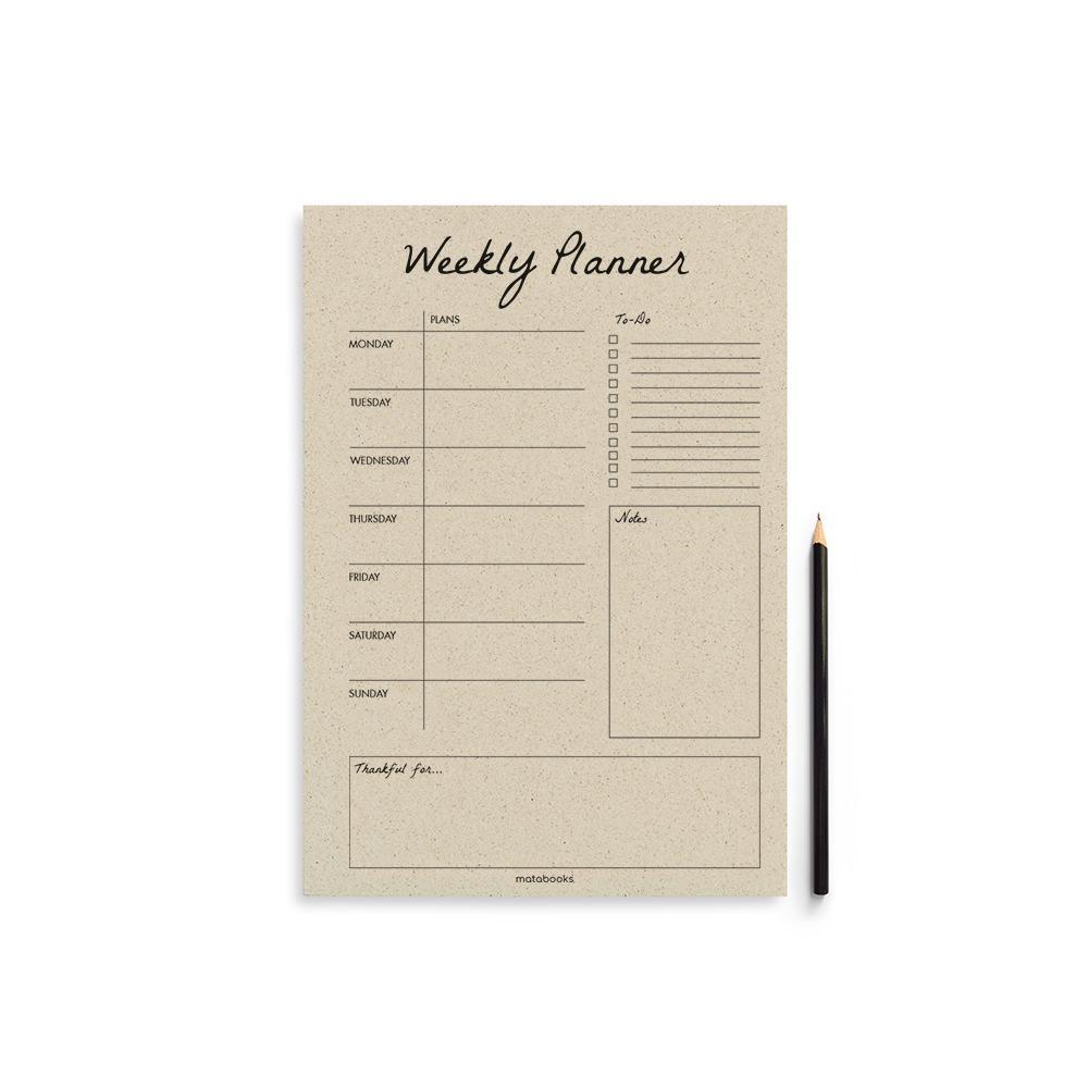 Matabooks Wochenplaner aus Graspapier Easy auf Englisch