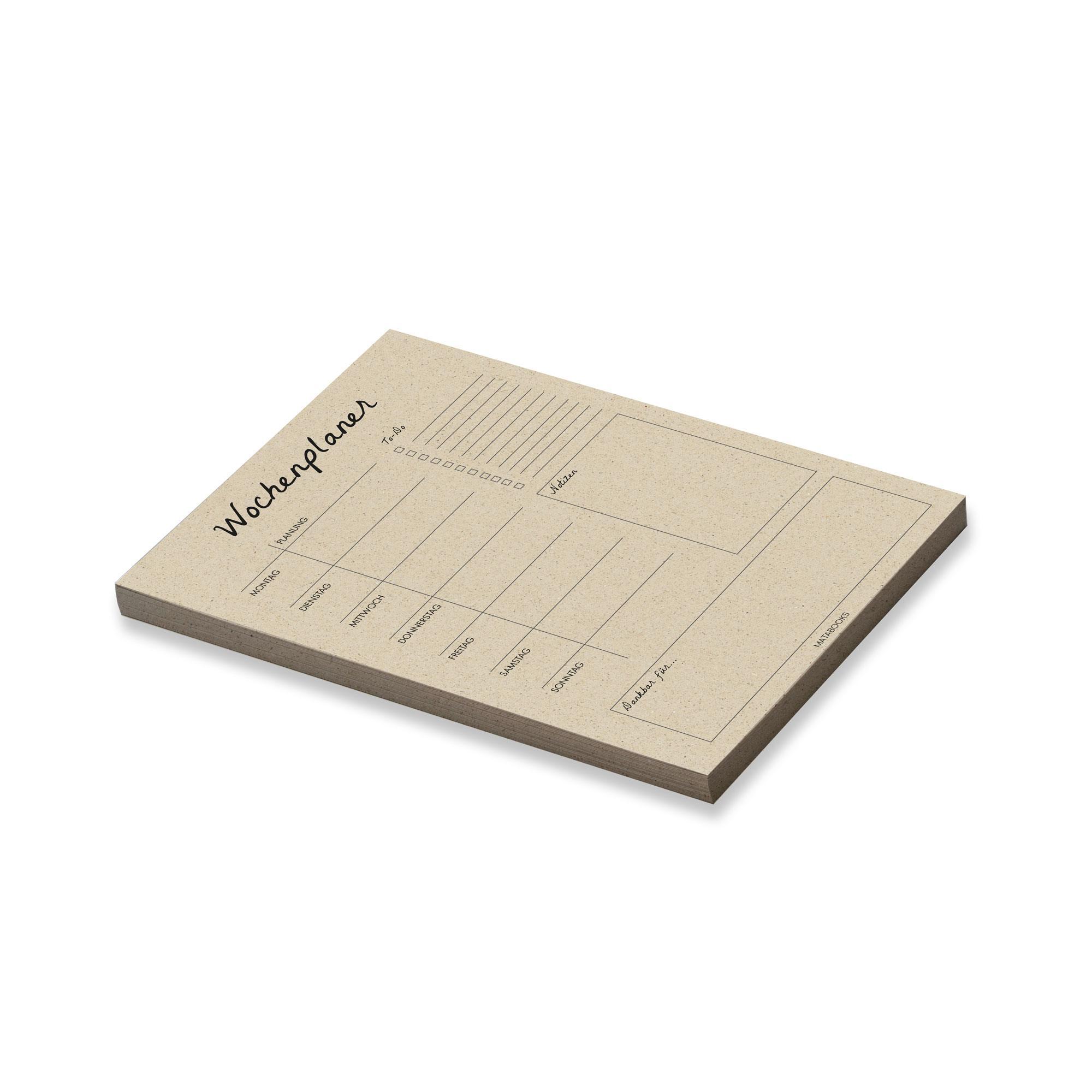 Wochenplaner aus Graspapier - Matabooks