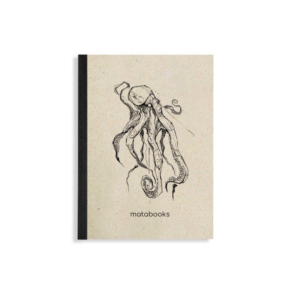 "Steifbroschur Dahara ""Octopus"" aus Graspapier von Matabooks"