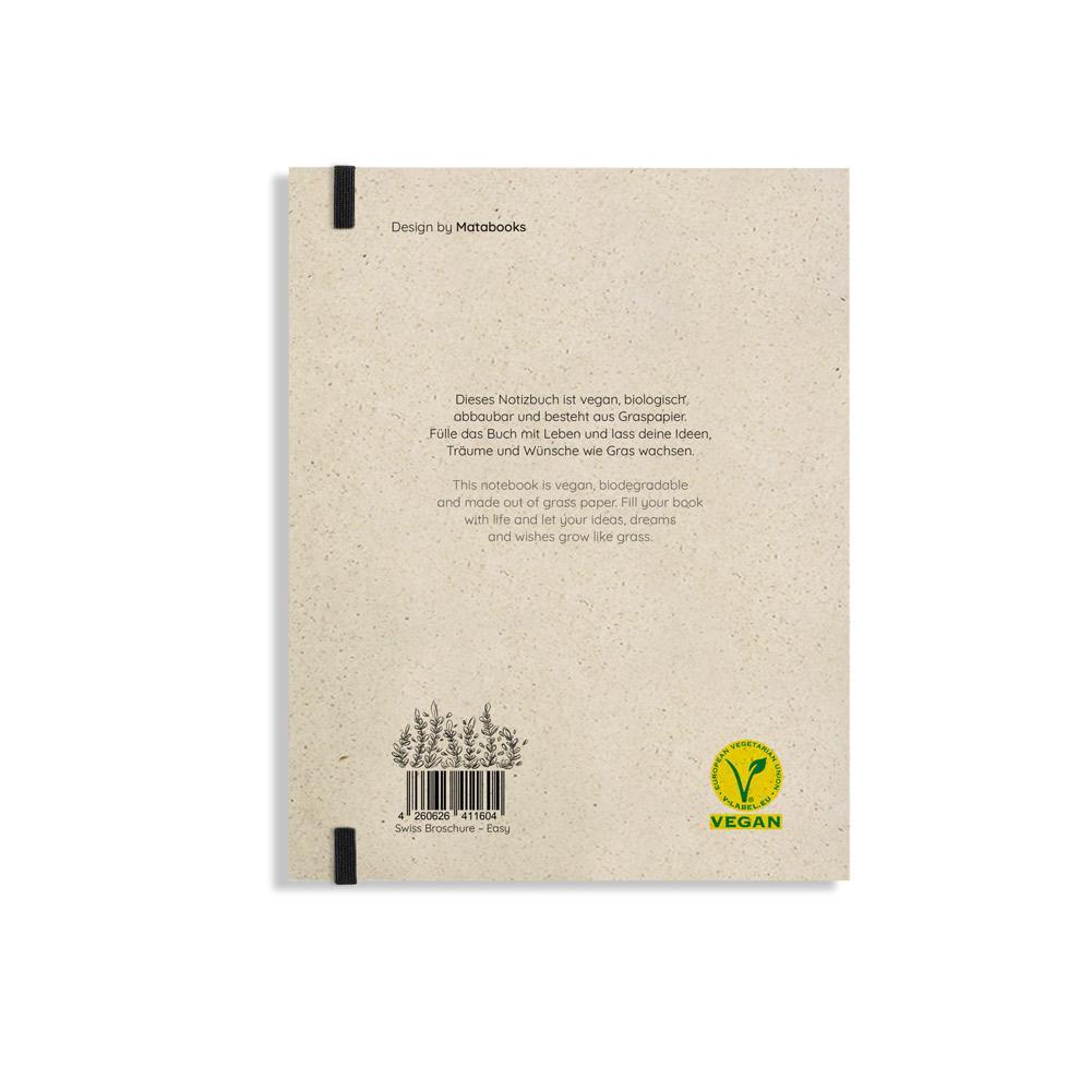 """Notizbuch Swiss Brochure """"Easy"""" aus Graspapier von Matabooks"""