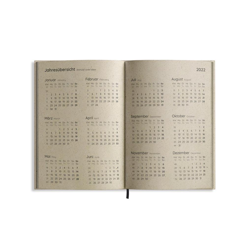 Nachhaltiger und veganer Jahresplaner 2022 Easy S aus Graspapier von Matabooks