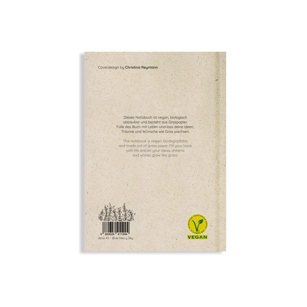 Nachhaltiges und veganes Notizbuch A5 Blue Starry Sky aus Graspapier von Matabooks