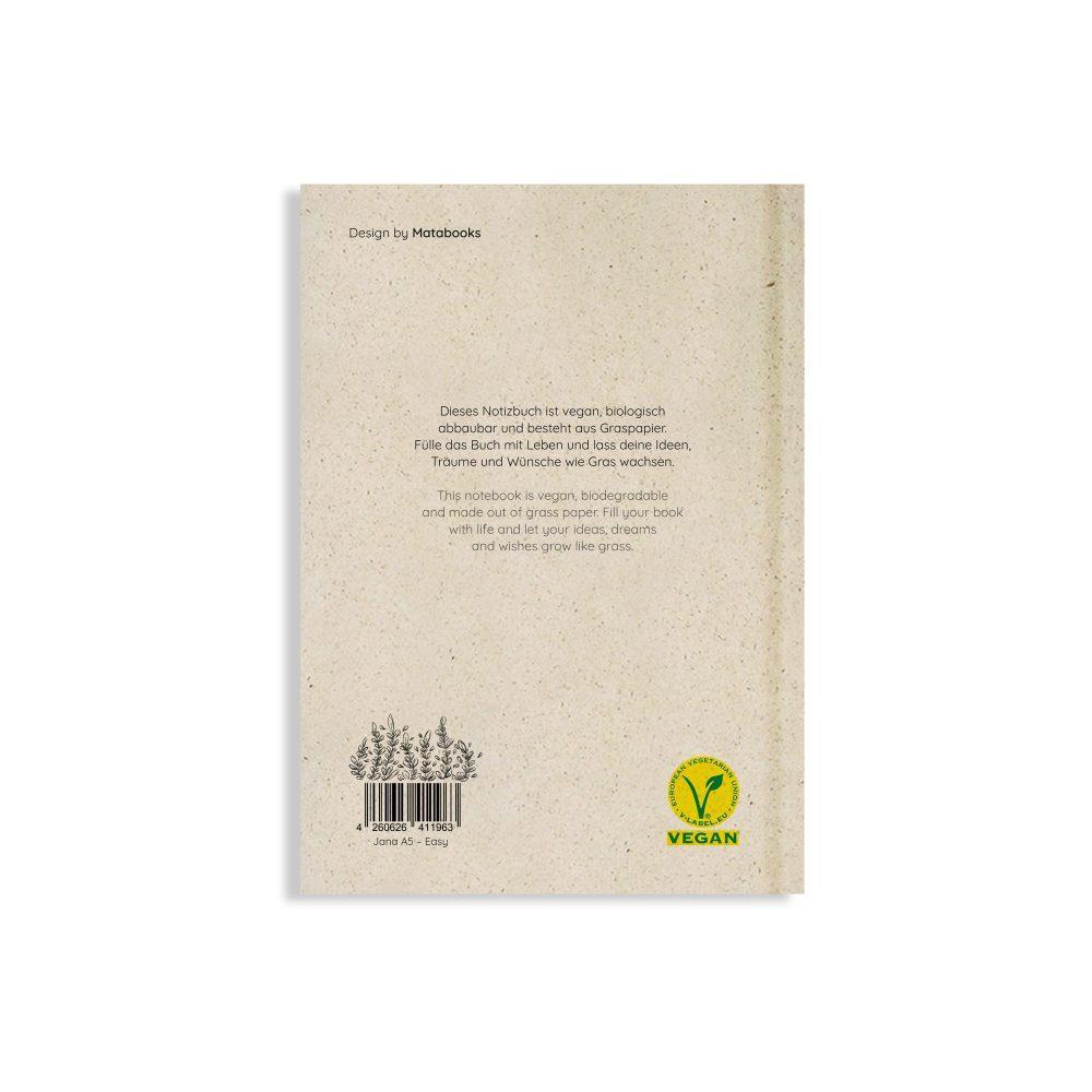 Nachhaltiges und veganes Notizbuch A5 Easy aus Graspapier von Matabooks