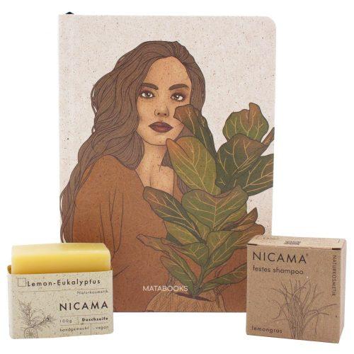 """Plastic Free July Bundle: Mataboks x Nicama nachhaltiges Notizbuch Nari """"Plant Friends"""" aus Graspapier und Naturkosmetik Shampoo und Duschseife"""